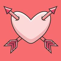 a heart with two arrows illustration vector