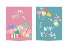 Happy birthday card frame with element balloon candy vector