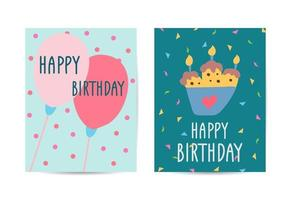 Set of cards Happy Birthday Collection greeting template vector