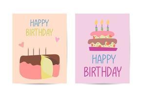 Set of birthday card design templates vector illustration