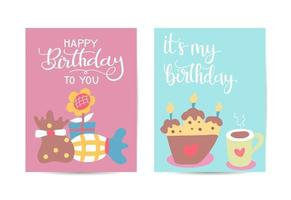 Happy birthday greeting card with Lovely birthday Cakes with candles vector