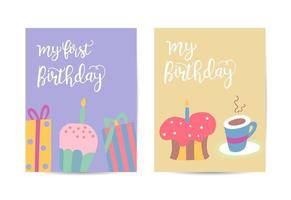 Happy birthday greeting card with birthday Cakes and candles vector