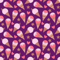 Seamless texture with ice cream vector illustration