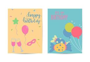 Happy birthday greeting card Vector Set with Balloons Celebration