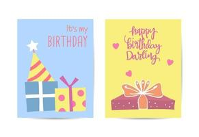 Set of birthday greeting cards design illustration vector