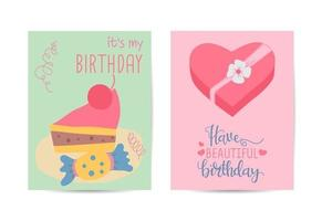 Happy birthday greeting card with Lovely gift birthday illustration vector