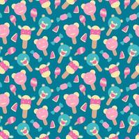 Vector seamless summer pattern with ice cream element