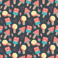 hand drawn doodle colorful sweets ice cream  colorful seamless pattern vector