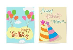 Set of colorful birthday cards design vector