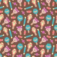 Seamless pattern of cute style ice cream vector illustration