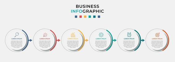 Plantilla de negocio de diseño infográfico vectorial con iconos y 6 opciones o pasos vector