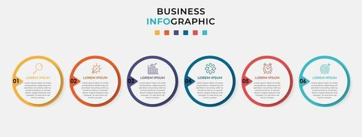 Vector Infographic design business template with icons and 6 options or steps
