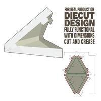 Bandeja triangular troquelada diseño dieline con tapa diseñada y preparada para la producción de cartón real vector
