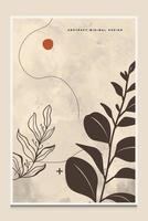 Fondo abstracto botánico minimalista moderno adecuado para imprimir como pintura decoración de interiores publicaciones sociales folletos portadas de libros vector