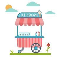 Trolley with ice cream Cart and sweet ice cream kiosk vector