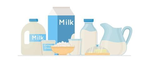 Fresh organic milk products set with cottage cheese and butter vector illustration