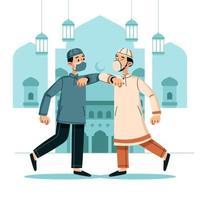 Elbow Bump Greeting on Eid vector