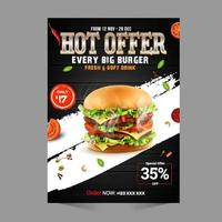 Fast Food Flyer Design Template cooking cafe and restaurant menu vector