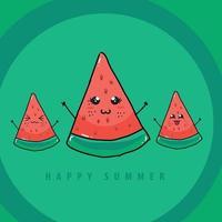 water melon happy summer illustration vector