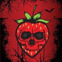 strawberry skull horror illustration vector