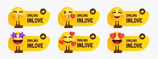 Set of inlove emoji characters standing with text label vector