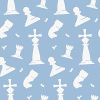 Seamless pattern with white chess pieces vector