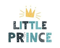 Blue gray Little Prince lettering in a doodle style on a white background Vector image Decor for childrens posters postcards clothing and interior