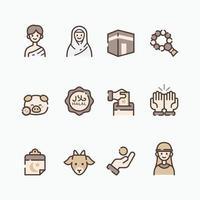 Set of Islamic Eid Adha Icon vector