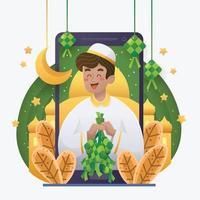 A Man Celebrating Eid Mubarak with Ketupat vector