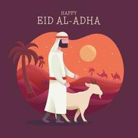 Celebrate Eid Al Adha With Man And Goat vector