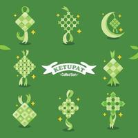 Eid Ketupat Icon Collection vector