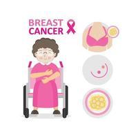 Breast cancer awareness pink ribbon with senior woman character vector