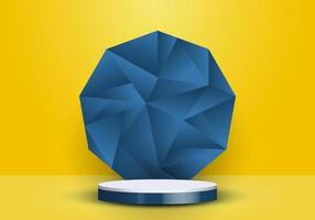 3D realistic blue and white cylinder on low polygon backdrop on yellow background vector