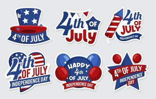 4th of July Sticker Collection vector