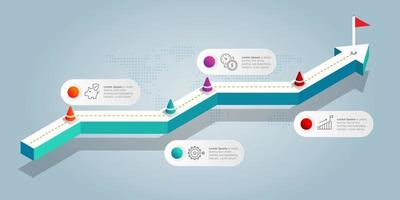 abstract isometric  growth graph  infographics 5 steps with icon vector