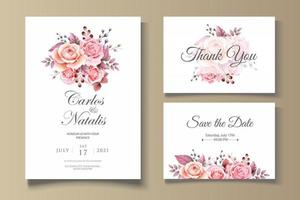 Botanical Wedding Theme Card Template vector