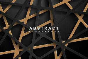Abstract 3d Geometric paper cut background with dark black and gold color vector