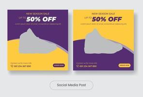 Season sale sneaker social media post template banner set vector