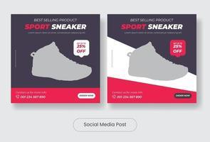 Sneaker social media post template banner set vector