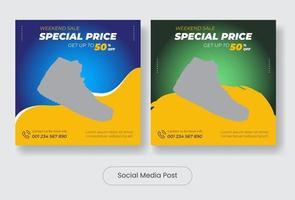 Square man shoes social media post template banner set vector