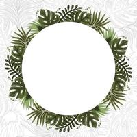 Summer Tropical Floral Frame Background vector