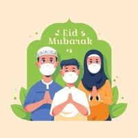 Eid Gathering With Protocol in a Pandemic Situation vector