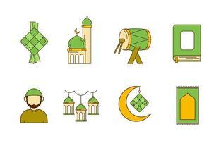 Happy Eid Islamic Icon Set vector