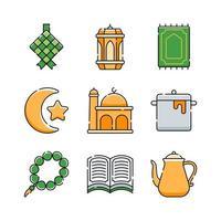 Ketupat Icon Set Design vector