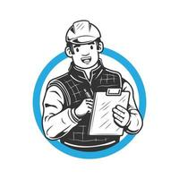 Vector illustration of smiling engineer with helmet A man holds a tablet with notes and learns or writes down the calculations of the project or work