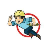 mister electric logo a man running holding lighting vector illustration