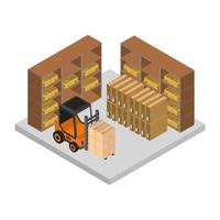 Isometric Warehouse On White Background vector