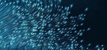 Microchip de circuito brillante sobre fondo de tecnología vector
