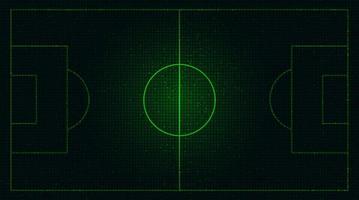 Campo de fútbol verde virtual sobre fondo de tecnología digital vector