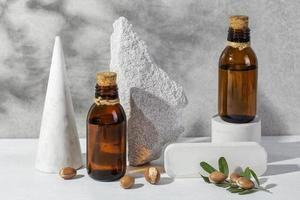 Front view composition of natural argan product photo
